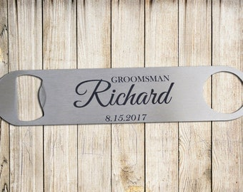 Groomsman Bottle Opener, Personalized bottle opener, Stainless Steel Metal Bottle Opener, Custom bottle opener, Wedding Gift, Opener. BO4