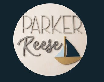 "18"" 3D Personalized Round Sign, Wood Nursery Name Sign with Sailboat, Nursery Decor, Nautical Nursery, 18 Inch Circle, Sailboat Nursery Sign"