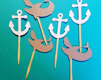 Shark party cupcake toppers, anchor cupcake toppers, nautical birthday party,pool party cupcake toppers. Shark birthday party decor