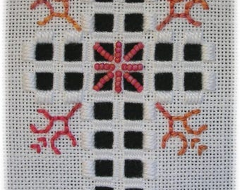 Hardanger embroidery - Coral Cross