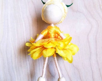 Flower Doll, Flower Fairy Doll, Flower Girl, Fairy Doll, Waldorf Doll, Bendy Doll, Spring Decor, OOAK Doll, Summer Decor, Fairy Decor