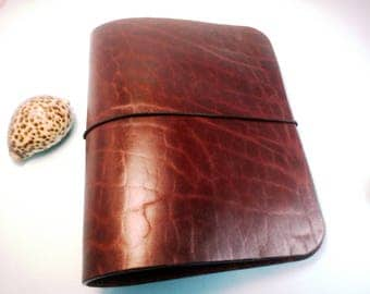 Reddish Brown Refillable Leather journal 6 Ring Binder Thick Leather Book A5 Organizer Custom Leather Notebook Half Letter Size Gift For men