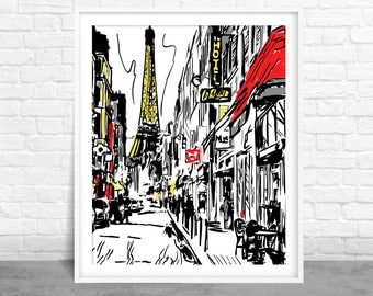 Paris Art, Cityscape Sketch, Parisian Design, Black White & Red
