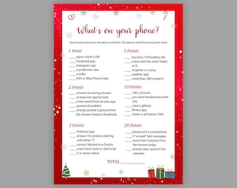 Winter Baby Shower Games, Whats on your Phone, Printable Baby Shower, Christmas Baby Shower, Cell Phone Game, Whats in your Phone, S029