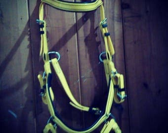 Yellow Biothane  bridle bitless sidepull cob and full sizes with reins