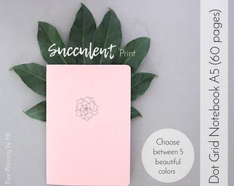 Dot Grid Notebook, Travelers Notebook Insert, Bullet Journal, Bullet Journal Notebook, A5 Notebook, Midori Insert, Succulent Print