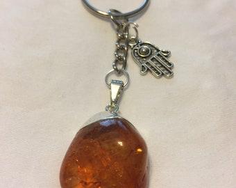 Hamsa Hand Keychain with Amber Colored Crystal