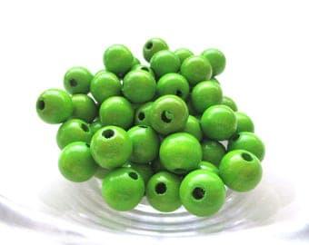 25 wooden pacifier clip 12 mm - Apple green beads