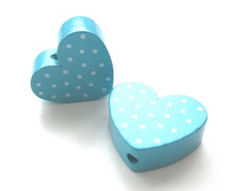Wooden heart dot bead - Turquoise & white