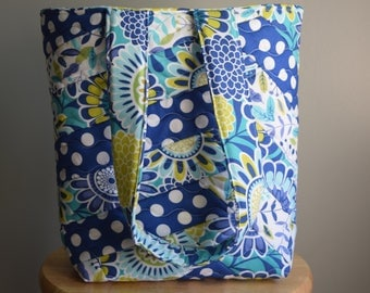 Homemade Quilted tote. Quilted purse. Quilted bag. Blue.