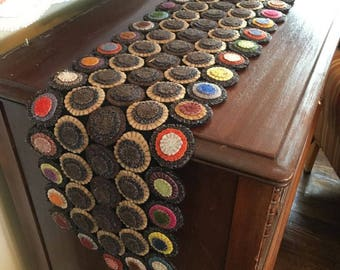 Primitive Wool Penny Multicolored Table Runner
