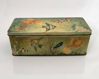 Vintage C.W.S Biscuit Tin, Fish Aquatic Scene Rectangular Tin, Fish Medium Size Metal Tin Box