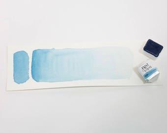Handmade Watercolor Paint Half Pan Sky Blue - Soft Blue Artisinal Watercolor