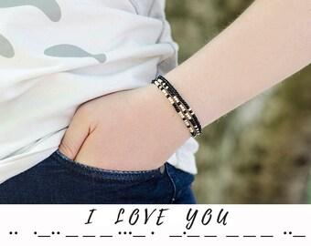 Girlfriend Gift for Her Morse Code Bracelet I love you Secret Message Bracelet Morse Bracelet Gift for Women Bracelet Simple Bracelet