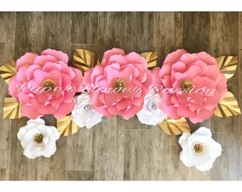Pink and gold paper flower