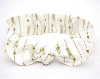White Arrow headband, Womens Headband, Adult Headband, Headband for Women, Girl Headband, Headbands, Girl, Women, Headband, Gold