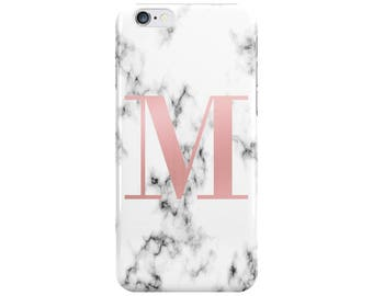 Personalised big initial White Rose Gold Marble Phone Case Cover for Apple iPhone 5 6 6s 7 8 10 X Plus & Samsung Galaxy Customized Monogram
