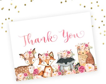 Printable Baby Shower Thank You Note. Floral Woodland Baby Shower Thank You Note. Woodland Theme Baby Shower. Digital Baby Shower thank you