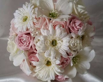 Wedding Bouquet Vintage Pinks Ivory Satin Bridal Pearls Lace Gorgeous