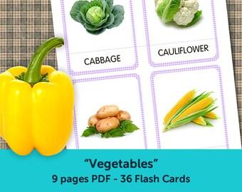 Vegetables Flash Cards, Printable Cards, Flashcards for Kids, Kindergarten cards, Preschool games, Toddler learning, Nursery Art