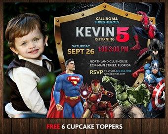 Superhero Invitation, Superhero Birthday Invitation, Superhero Birthday Invitations For Boys, Superhero Birthday Invitations With Picture