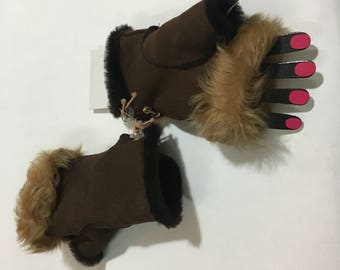 Sheepskin Fingerless brown   One Size