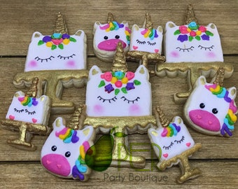 Birthday Unicorn Party Cookies Personalized Cookies