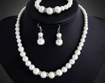Simulated Pearl, Rhinestone, Crystal, CZ necklace set, wedding bridal jewelry set costume
