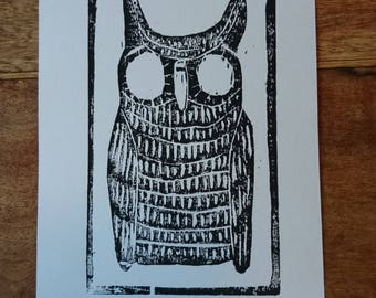 The Night Owl Woodcut Print