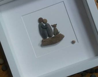 Couple and dog pebble picture