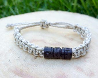 Macrame hemp bracelet, wood bead, natural, eco-friendly