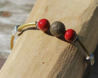 Red and Bronze Vintage Style Brass Bangle