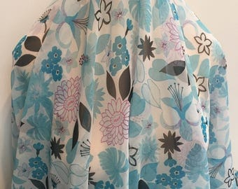 Airy Turquoise Chiffon Floral - Sold by the Yard