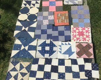 27 Quilting Blocks Handmade Quilters Blocks Antique & Vintage Cut Quilt Squares Mixed Lot Patchwork Blocks Circa Early 1900s on Up