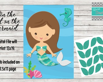 Pin the Tail on the Mermaid. Birthday Party Game *Digital File*