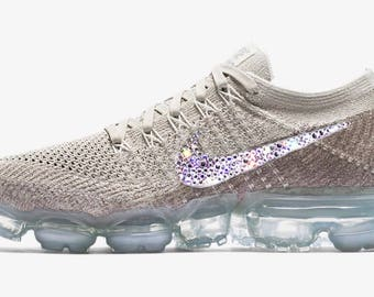 crystal Nike Air VaporMax Flyknit Bling Shoes with Swarovski Elements Women's Running Shoes sunset glow String