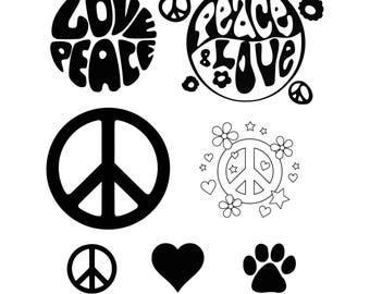 Love Paw svg Love svg Paw svg  Dog svg Cat svg Peace svg Paws svg Hippie svg Cut table Design svg dxf png eps