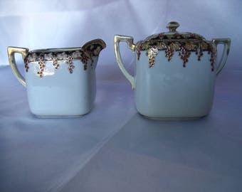 Creamer and Sugar Bowl, Hand Painted, Nippon