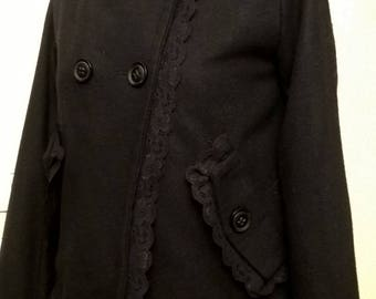 Peacoat in Black wool and viscose fabric