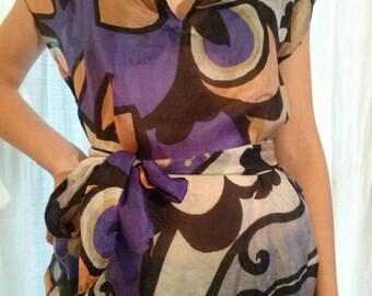 Short blue printed silk dress