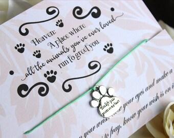 Sympathy Wish Bracelet, Wish Upon Your Wrist, Sympathy Bracelet, Loss Of A Pet Gift, Paw Print Bracelet, Pet Loss Gift,  Loss Of A Pet Gift