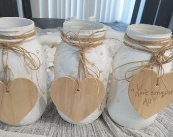 Wedding-Centerpiece-White Pearl Mason Jar-Rustic Chic-Home Decor