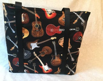 Guitars- Functional, Multiple Use, Fully Lined Cotton Tote Bags