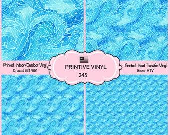 Blue sea waves Printed Pattern Vinyl/Siser HTV/ Oracal/ Indoor Vinyl/ Outdoor Vinyl/ Heat Transfer Vinyl- 245