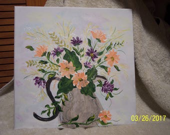 Flower Bouquet and Country Crock Hand Painted Canvas