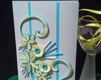 Paper Quilling Card, Quilling Greeting Card, Boxed Greeting Card, 3D Card, Floral Greeting Card, 1st Anniversary Card, Blabk Greeting Card