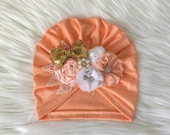 Turban peach with flowers