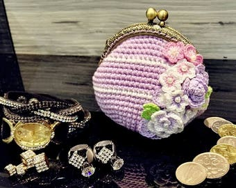 crochet flower coin purse with frame