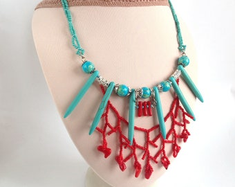 Aqua Red Necklace Natural Howlite Coral necklace Stone women gift Elegant gemstone necklace Beadwork Stone jewelry Evening jewelry For her
