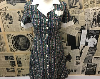 1960's Floral A-line Button Down Short Sleeve Dress Stripe Size UK 6-8 FREE WORLDWIDE Postage